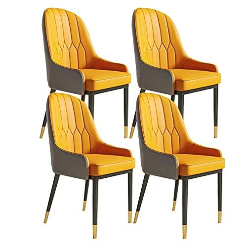 ADGEAAB Juego de 4 sillas de comedor, de piel, moderna, de respaldo, suave, a prueba de agua, silla lateral de cuero con patas de metal (color: A)