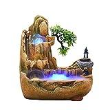 HBR Fuentes de Interior Desktop Fountain Resin Waterfall Simulación de la Fuente de rockería Bonsai Adecuado para la decoración del hogar Oficina de Dormitorio Característica de Agua de Escritorio