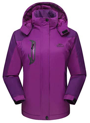 CORAFRITZ Damen Wasserdicht Skijacke Outdoor Winddicht Fleece Regenjacke Gr. 38, violett