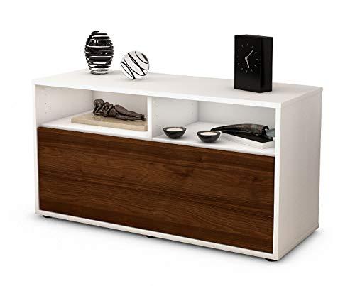 Stil.Zeit Möbel TV Schrank Lowboard Agostina, Korpus in Weiss Matt/Front im Holz Design Walnuss (92x49x35cm), mit Push to Open Technik, Made in Germany