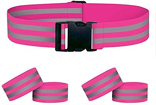 práctico 4 unids Brazaletes reflectantes de brazaletes y 1 unids High V VIS Cinturón Cintura Ajustable Elástico Elástico Running Running Bandas para los corredores Mujeres adultos ¿Adulto? Kids Safety