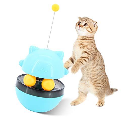 ShawFly Juguete interactivo para gato, juguete de mesa giratoria con dispensador de alimentos, juguete giratorio para interior