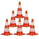 ECD Germany 6 x Cono Segnaletico Spartitraffico Pilone Traffico Stradale 50cm Arancione-Bianco Piloni Strisce Riflettenti Coni Avvertimento di Traffico Cono di Sicurezza Stradale Rifrangente Bicolore