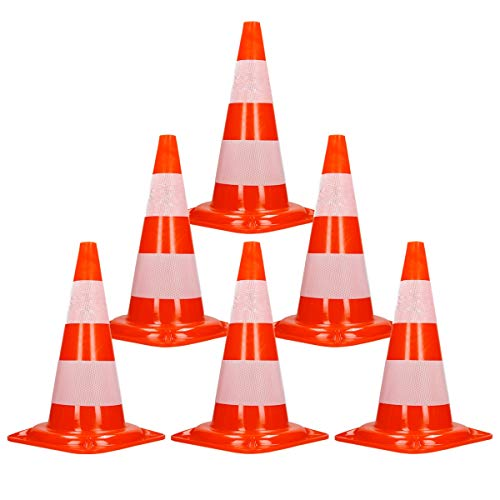 ECD Germany 6 x Cono Segnaletico Spartitraffico Pilone Traffico Stradale 50cm Arancione-Bianco Piloni Strisce Riflettenti Coni Avvertimento di Traffic