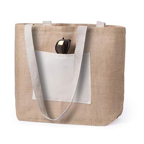 Bolsas de yute reutilizables, tote bag ecológico, biodegradable, Bolsa de materiales naturales en combinación de algodón y corcho lavable, bolsa de verano, ideal para la playa, Uvimark
