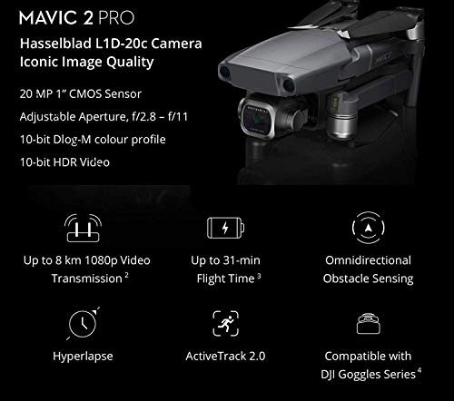 DJI Mavic 2 Pro with 20MP Hasselblad Camera, Comes with One Extra Battery, Hard Professional Case, ND Filter Set, Extreme SD card and More