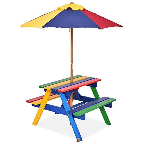 GYMAX Tavolino con Sedie per Bambini da Esterno in Legno di Abete, Set di Mobili da Giardino per Bambini con Ombrellone, Ideale per Giardino, Cortile e Terrazzo, Multicolore