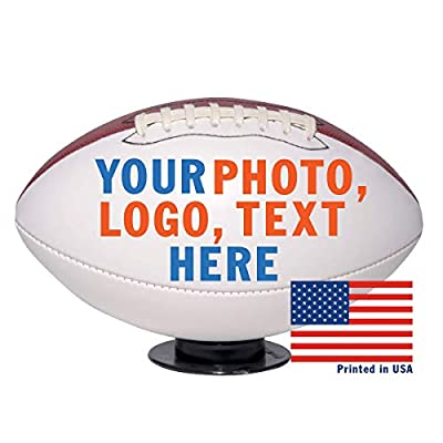 Custom Personalized Football - Full Size - Ships in 3 Business Days, High Resolution Photos, Logos & Text on Football Balls - for Players, Trophies, MVP Awards, Coaches