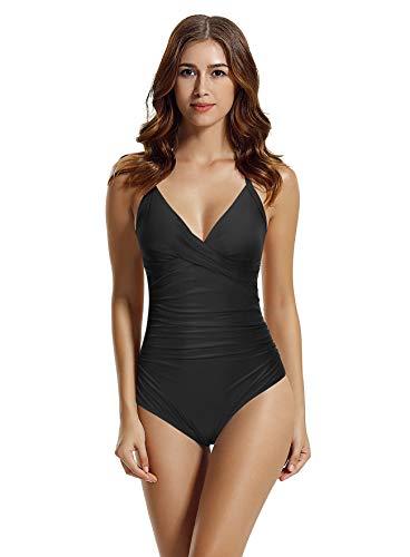 zeraca Women's Retro Cross Front Ruched One Piece Swimsuit Bathing Suit (Black, Large 14)