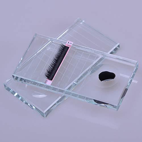 S-TROUBLE 2 en 1 Verre Faux Cils Colle Adhésive Palette Support de Support Extensions de Cils Transparent Plateau Maquillage Cosmétique Outil