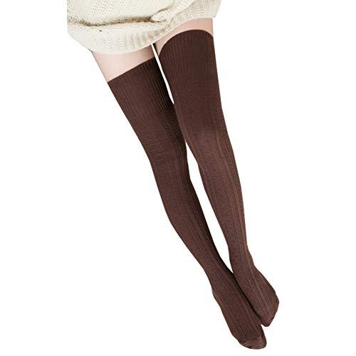 Bakicey Medias por encima de la rodilla, medias de algodón, calcetines de punto, medias de punto, medias altas por encima de la rodilla, calcetines largos de invierno marrón Talla única