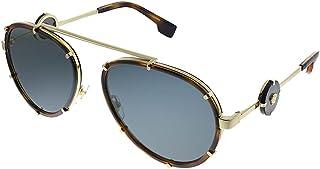 Versace VE 2232 147087 Havana Metal Aviator Sunglasses Grey Lens