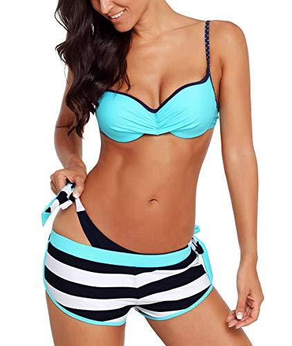 Aleumdr Bikini Set Damen Push up Bademode Badeanzug mit Bügel Triangel zweiteilig Gebunden Strandmode Bikinioberteil S-XL, Blau, Medium (EU36-EU38)