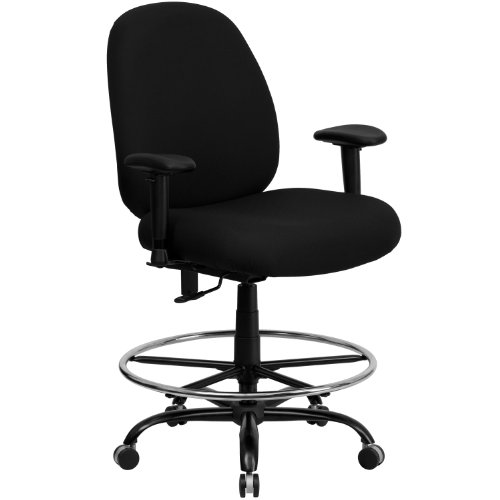 Big Sale Flash Furniture WL-715MG-BK-AD-GG Hercules Series 400-Pound Big/Tall Black Fabric Drafting Stool with Arms/Extra Wide Seat