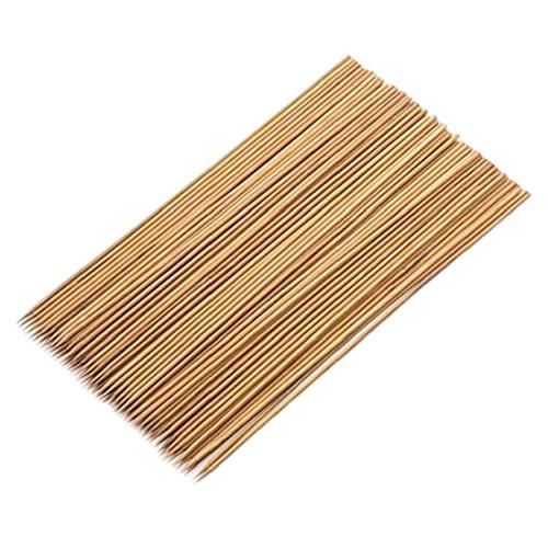 Bambú Pinchos de bambú 12 Pulgadas Gruesas Resistentes de bambú Natural para Asar Barbacoa 100pcs, Camping Barbacoa de la Parrilla Utensilios Kit