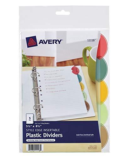 Avery Plastic Mini 5-Tab Binder Dividers, Style Edge Insertable Multicolor Tabs, 1 Set (11118)