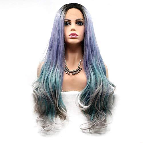 GDICONIC Peluca Femenina Púrpura, Azul, Gris, Degradado, Pelo Largo, Rizado, Peluca, Dama, Hecho a Mano, Encaje, Europa, y, Peluca, Conjunto