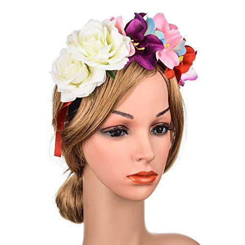Ppzmd - Diadema con diseño de Corona de Rosas y Corona de Flores, par