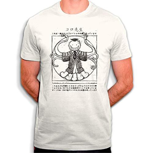 Camiseta Koro Sensei el maestro que los alumnos deben matar para salvar la planta – Hommage al Manga Assassination Classroom – Camiseta para hombre, color blanco blanco hueso XL