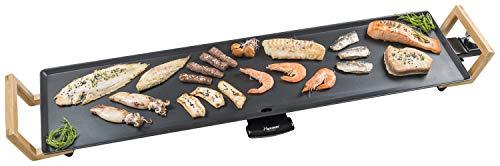 Bestron Teppanyaki Grillplatte XXL im Asia Design, Mit Bambus-Griffen, Asia Lounge, 1.800 W, Schwarz