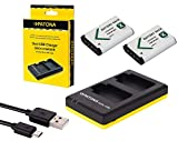 3in1-SET Ladegerät + 2 Akkus für die Sony RX100 I II III IV V VI Digitalkamera - kompatibel mit Sony Akku NP-BX1 - Dual Ladegerät (lädt 2 Akkus gleichzeitig)
