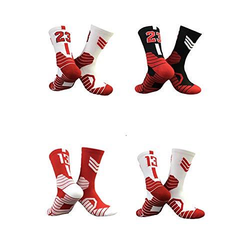 WWJJE 4er Pack Socken, Basketball Socken mit Basketball Logo Crew Länge-Jordan