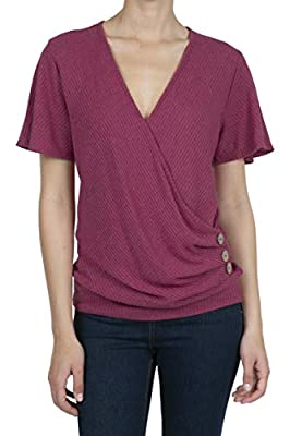 8074 Women's Deep V-Neck Short Sleeve Button Waffle Cross Wrap Tunic Tops Marsala XL