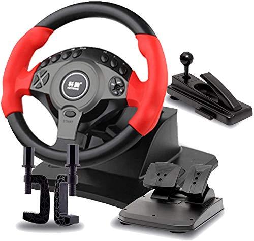 QDY Juego de conducción Volante, simulador de Coche con Pedales y Freno de Mano, Volante de simulación de rotación de 900 °, Apto para PC/portátil, Rojo