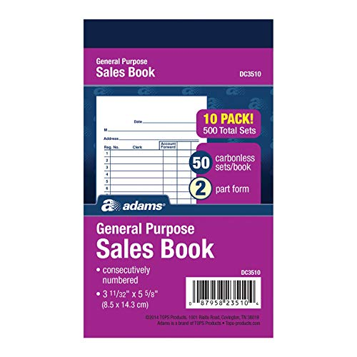 Adams General Purpose Sales Book, 2-Part, Carbonless, White/Canary, 3-11/32' x 5-5/8', 50 Sets per Book, 10 Pack (DC3510)