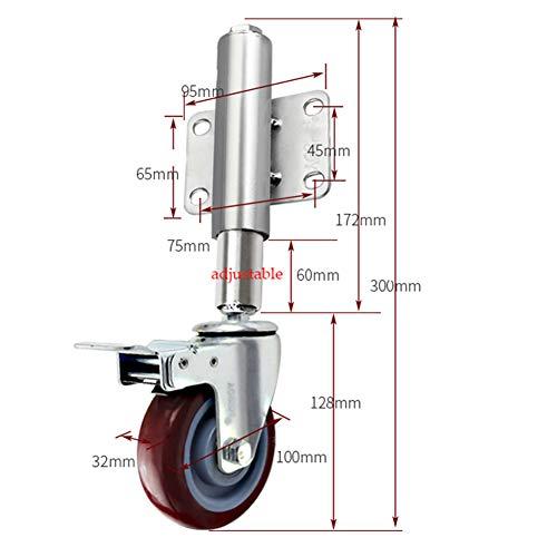 Casters 4 Zoll / 100 mm gefederte Torrollen, Schwerlast-Lenkrollen/Rollen mit Langen Stielen, rote Polyurethanrollen, einstellbare Höhe 60 mm, Tragfähigkeit 80 kg
