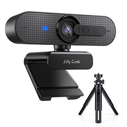 Jelly Comb HD USB Computer Webcam mit Stativ Set 1080P Webkamera mit Autofokus, Sichtschutz und Dual-Mikrofon für Skype, Video-Anrufe, Konferenzen, Aufnahme, Streaming – CM006, Schwarz