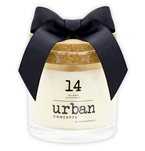 Urban Concepts by DECOCANDLES - Island Coconut - Highly Scented Soy Candle - Long Lasting - Hand Poured in USA - 6.7 Oz. w/ Cork lid