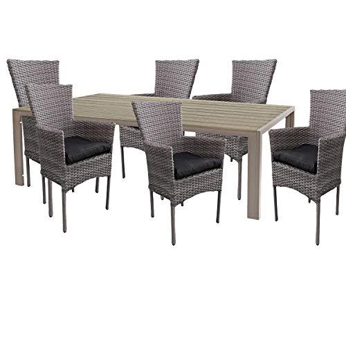 Mojawo Hochwertige Gartengarnitur 7-teilig Gartentisch 180x90cm Champagner Aluminium/Polywood Champagner + 6 Rattansessel grau-meliert