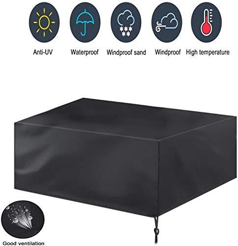 Cubre muebles de jardín de protección de objetos, impermeable, anti UV, resistente, 210OxforFabric de ratán protector para muebles de exterior negro, 126 x 126 x 74 cm, 135*135*75CM