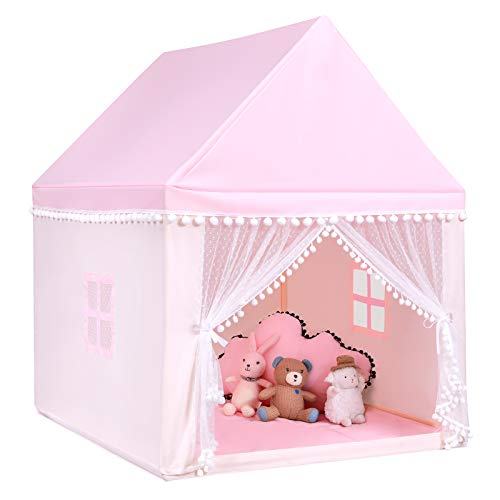 COSTWAY Kinderspielhaus Kinderzelt Spielhaus Prinzess Prinzessin, Kinderspielzelt Stoffzelt mit Massivholzrahmen & Baumwolldecke, Kinderspielburg für Jungen Märchen 120x105x140cm (Rosa)