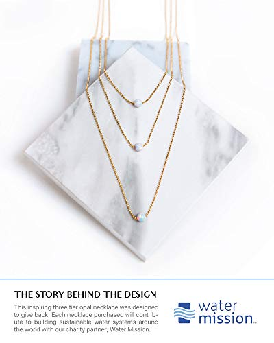 Opal Layered Gold Necklaces For Women | 14k Gold Dipped Ball Chain, 3 Tiered White Fire Opal, Gold Necklace | Dainty Opal Necklaces For Women | Celebrity Approved Opal Jewelry For Women