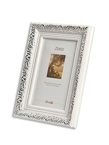 "Victor antiker Bilderrahmen ""Rubens"" weiß Silber in 21x30 cm - Leiste: 30x20 mm - Echtglas - barock"