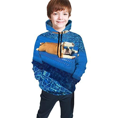 DMWY Sweatshirt mit Kapuze, Motiv: Englische Bulldoggen, für Jungen und Mädchen Gr. S, Schwarz