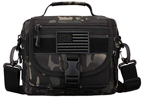 Protector Plus Tactical Messenger Bag Men Small Military MOLLE Crossbody Pack Tool Briefcase Assault Gear Handbags Outdoor Utility Carry Satchel (Patch Included), Black Camo