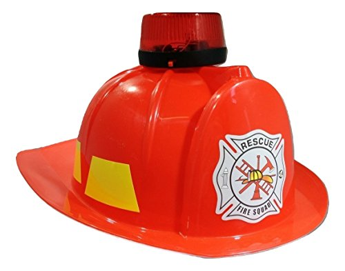 Toy Fireman Helmet Lights and Sound Siren, Red, One Size