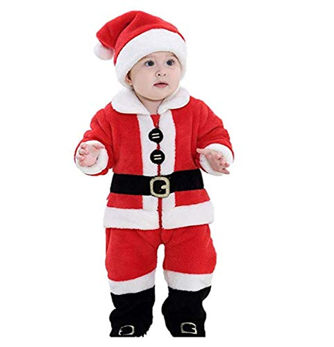 LAJIFENLEI Baby Boy Girl Christmas Costume One Piece Romper Hoodie Bodysuit Jumpsuit Xmas Cosplay Outfits Warm Clothes (Santa Claus, 6-9Months)