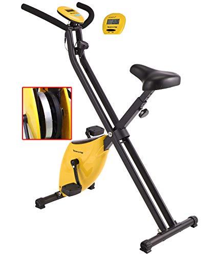 LHY SAVE Bicicletas estaticas Plegable Bicicleta Fitness con Ordenador y Altura del Asiento Bici Spinning Indoor con Volante de 4 Kg Entrenamiento Fitness casa
