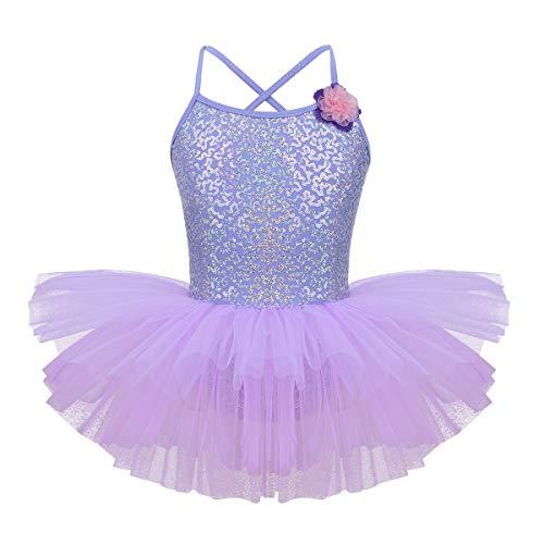 IEFIEL Tutú Vestido con Lentejuelas para Danza Ballet Miallot Niña Traje de Patinaje Artistico Disfraz de Bailarina Infantil 4-12 Años Violeta 6 años