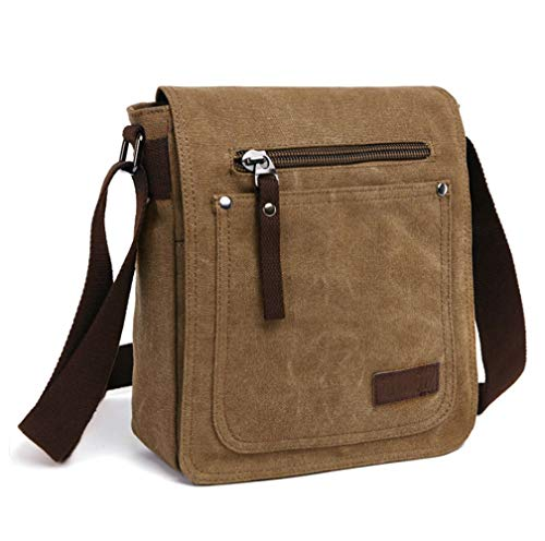 E-Bestar Canvas Bag tela Bag Borsa a tracolla da uomo Borsa a tracolla da donna Borsa a tracolla in stile retrò Borsa (Caffè)