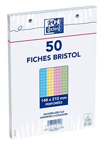 Oxford Fiches bristol A5 sous film perforées petits carreaux 5x5mm 50 fiches Couleurs Assorties