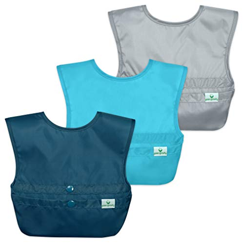 green sprouts Snap and Go Easy-wear Bibs for Baby & Toddler (3 pk)   Protection for Messy Eaters   Flipped Pocket, Easy Clean