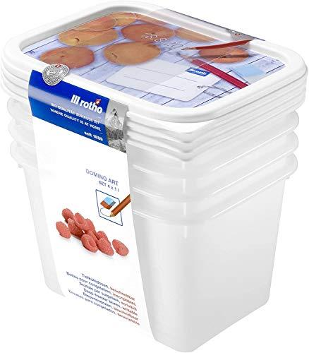 Rotho Domino 4er-Set Gefrierdose 1l mit beschreibbarem Motiv auf dem Deckel, Kunststoff (PP) BPA-frei, weiss, 4 x 1l (15,7 x 11,8 x 15,5 cm)