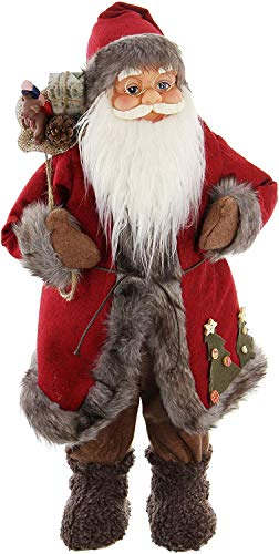 Statuetta di Babbo Natale (61 cm, rosso/grigio)