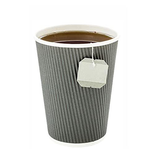 500-CT Disposable Gray 12-OZ Hot Beverage Cups with Ripple Wall...