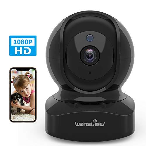Wansview WLAN IP Kamera, Überwachungskamera WiFi 1080P, Haustier kamera, Home und Baby Monitor mit Bewegungserkennung, Zwei-Wege-Audio, Unterstützt Fernalarm und Mobile App Kontrolle Q5 Schwarz